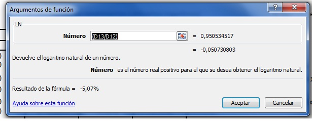 Calculo Logaritmo para Coeficiente Beta con Excel